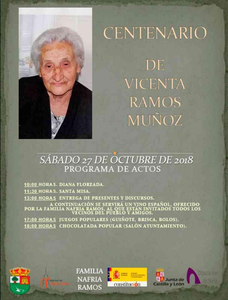 Valdenebro homenajea a su centenaria Vicenta Ramos Muñoz