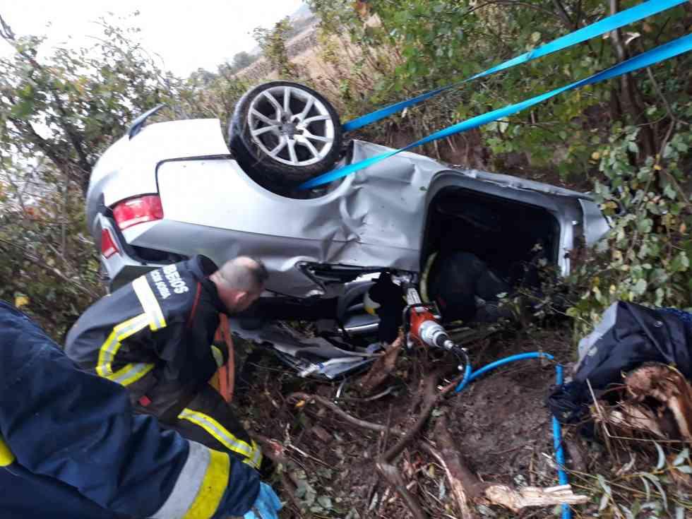 Dos heridos tras volcar un coche en Ólvega
