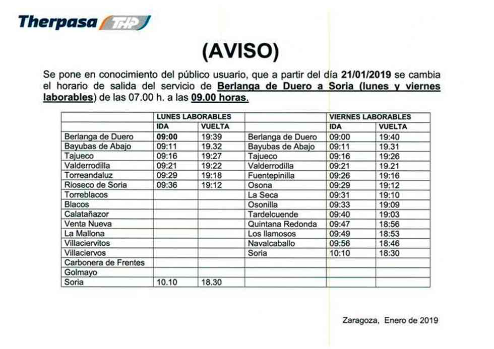 Nuevos horarios para el autobús de Berlanga a Soria