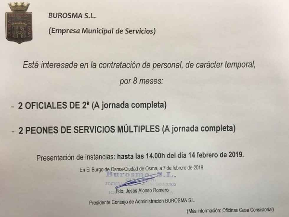 Cuatro puestos de trabajo para empresa de servicios Burosma