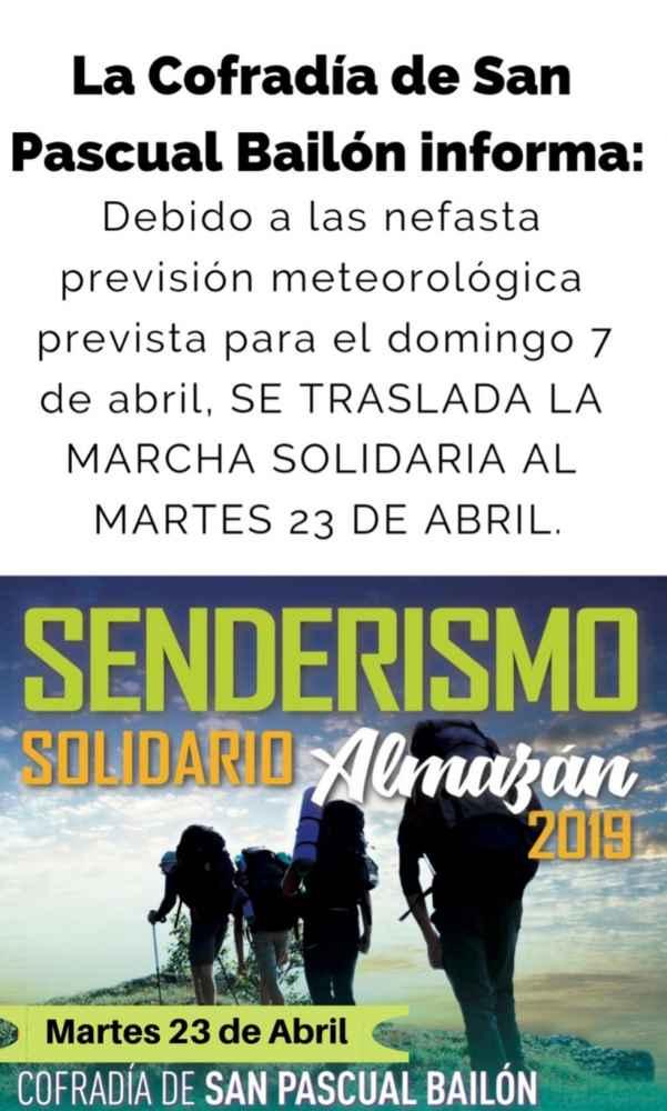 Cambio de fecha en la marcha solidaria en Almazán