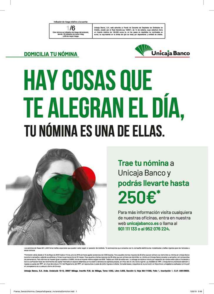 Unicaja Banco bonifica con hasta 250 euros la domiciliación de nómina