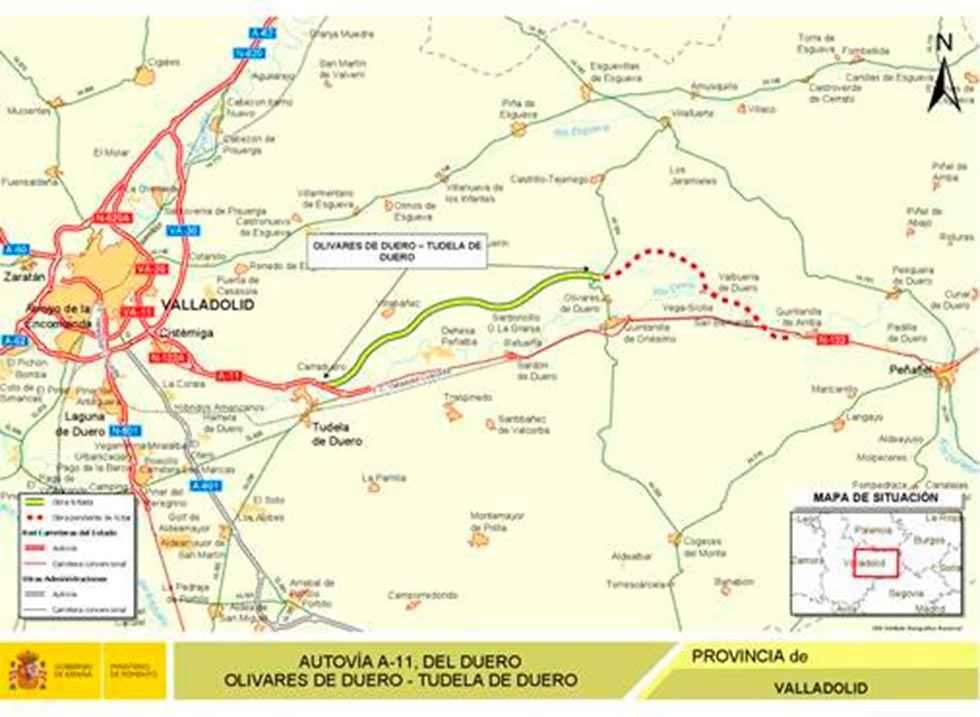 Fomento licita las obras de un tramo de A-11 en Valladolid