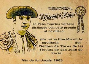 La Peña Taurina Soriana homenajea a sus tres socios fundadores
