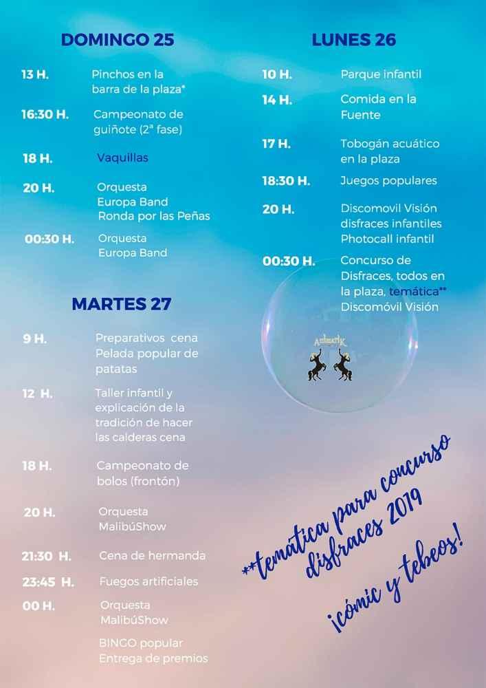 Programa de las fiestas patronales de Muro